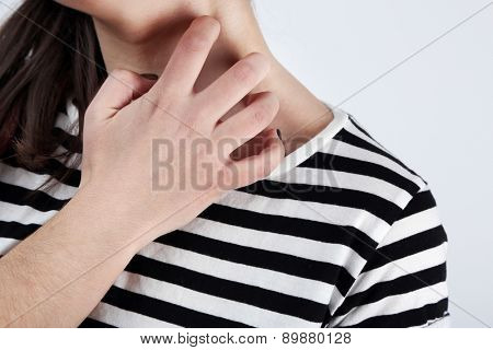 Woman has itch close up