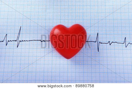 Cardiogram with red heart on table, closeup