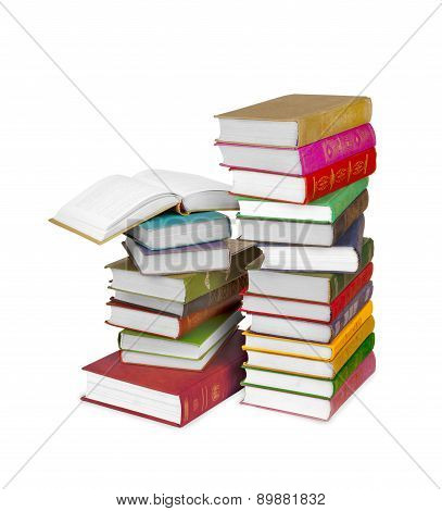 Piles Of Book Isolated On White Background