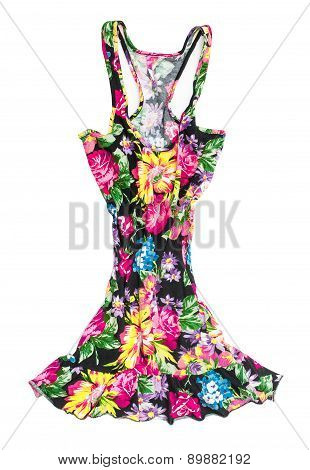 Black Singlet Dress In Floral Print On An Isolated White Background