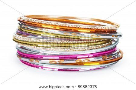 Elegant And Fashion Golden Bracelets Isolated On White Background