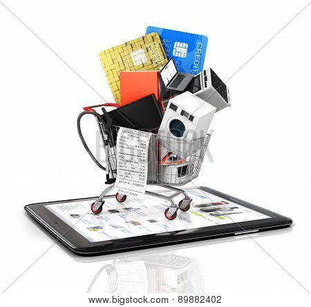 Online Store. Large Home Appliances With A Check In The Shopping Cart On The Tablet Pc. E-commerce C