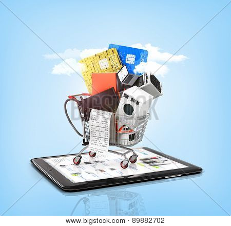 Online Store. Large Home Appliances With A Check In The Shopping Cart On The Tablet Pc On The Sky Ba