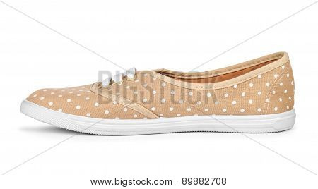Youth Stylish Shoes Beige White Peas On A White Background