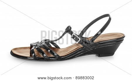 Black Women's Sandals Isolated On White Background