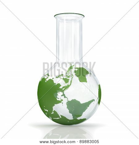 Bulb, Globe, Map Of The Bulb On A White Background, Environment Concept Earth.
