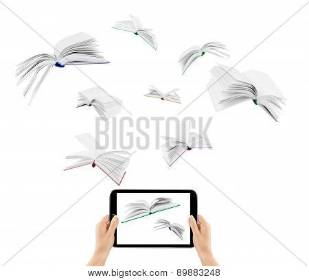 Information Transfer.book Flying In Tablet Isolated On White