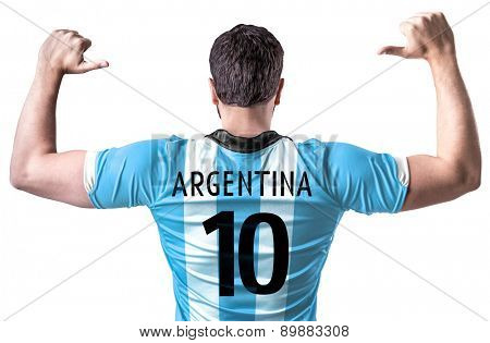 Argentine soccer player on white background