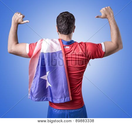 Chilean soccer player celebration on blue background