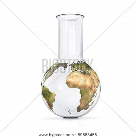 Earth In A Flask, Globe On A White Background, The Concept Of The Earth's Environment