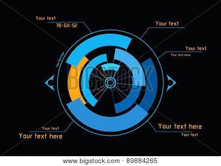 Blue And Orange Infographics On Black Background