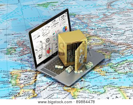 Money On The World. Notebook With Golden Safe With Money On The World Map. International Trading Con