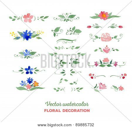 Vector watercolor floral elements. Flowers, leaves, bouquets