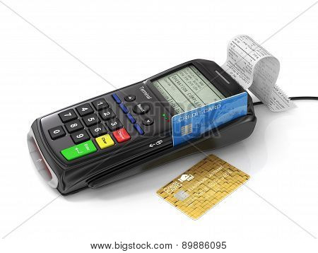 Credit Card And Card Reader Machine On Tht White Background. Paymant Terminal. Payment Concept.