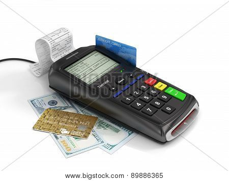 Payment Terminal With Credit Card And Money On White Background, Credit Card Reader, Finance Concept