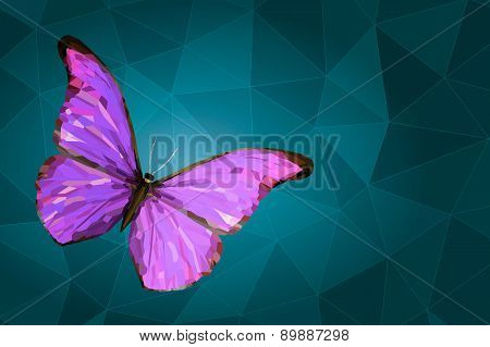 Abstract Mauve Butterfly On Geometric Background