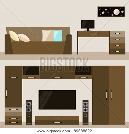 Illustration In Trendy Flat Style With Brown Beige Room Interior