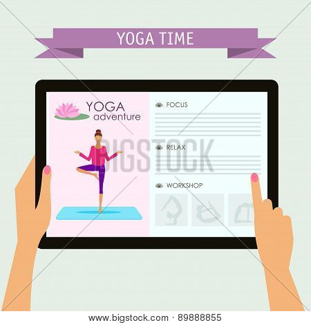 Conceptual Illustration On Practice Of Yoga Theme For Design