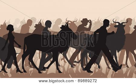 Cutout illustration of a mixed herd of wildebeest and people commuting or migrating
