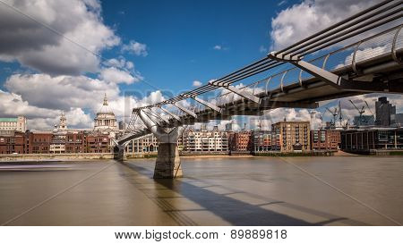 St Paul's Cathedral With The Millennium Bridge And River Thames