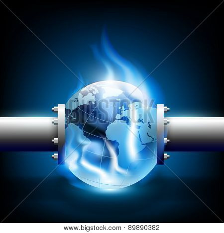 Planet Earth And Pipes For Fuel Production