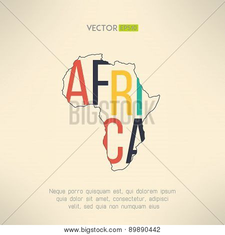 Africa continent outline with text inside. Infographic and travel element. Letters are not cut and e