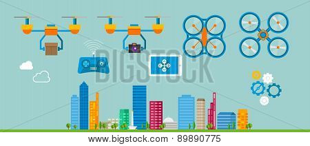 drone delivery flat icon illustration