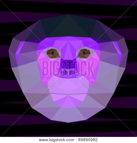 Abstract Bright Purple Colored Polygonal Geometric Red-shanked Douc Langur Portrait