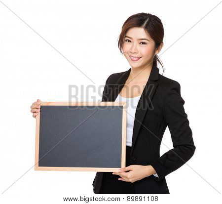 Asian businesswoman show with black board
