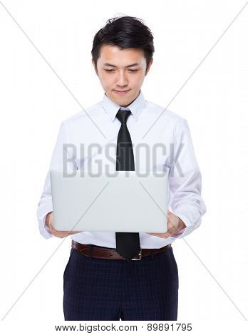 Businessman use of notebook computer