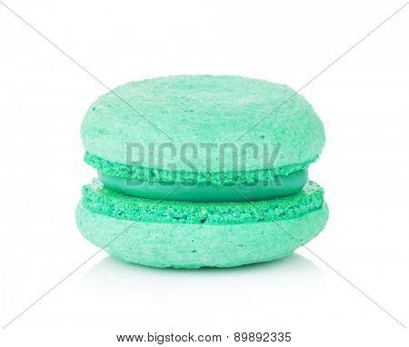 Aquamarine color macaron. Isolated on white background