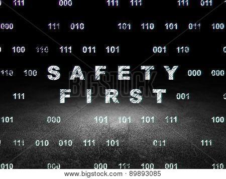 Security concept: Safety First in grunge dark room