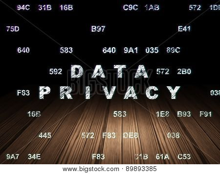 Safety concept: Data Privacy in grunge dark room