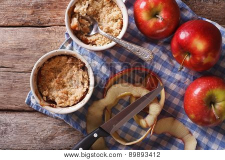 Apple Crumble In Portion Pots. Horizontal Top View