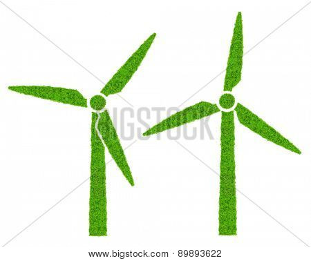 Green wind turbines symbol isolated on white background