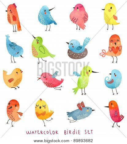 Watercolor set vector birds