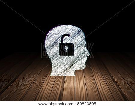 Finance concept: Head With Padlock in grunge dark room
