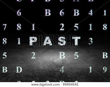 Timeline concept: Past in grunge dark room