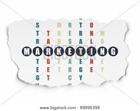 Advertising concept: word Marketing in solving Crossword Puzzle