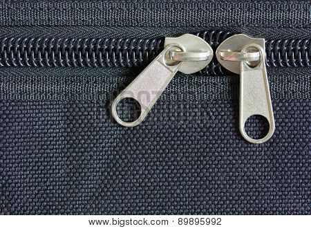 Zipper On Black Cloth