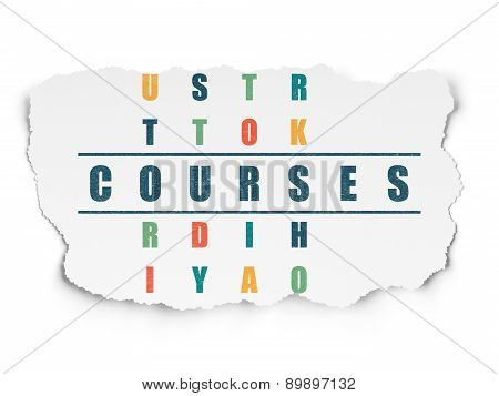 Education concept: word Courses in solving Crossword Puzzle