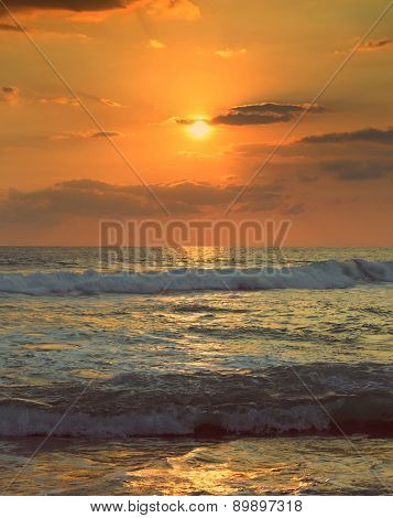 beautiful landscape with tropical sea sunset and waves - vintage retro style