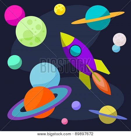 Bright Cartoon Cosmic Illustration With Rocket And Planets In Space