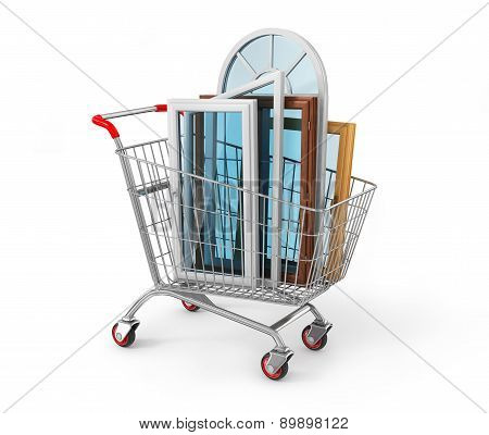 The Windows In The Shopping Cart. Warm House Concept.