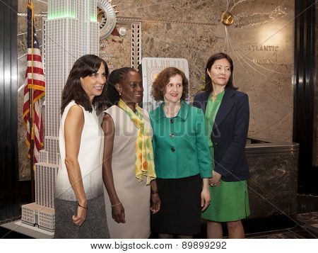 NEW YORK - MAY 5, 2015: Jill Scalamandre of Coty Skincare, NY First Lady Chirlane McCray, and Mary Giliberti and Barbara Ricci of NAMI pose for pictures in the lobby of the Empire State Building.