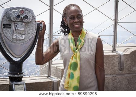 NEW YORK - MAY 5, 2015: New York First Lady Chirlane McCray poses on the observatory deck of the Empire State Building after a ceremony to bring awareness for mental health needs and services in NYC.