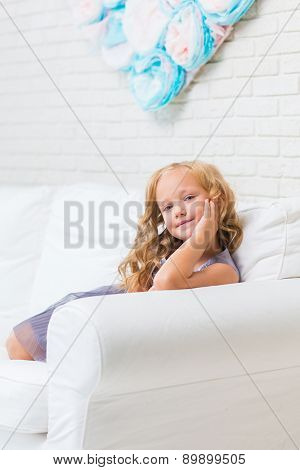 Adorable little girl in her room