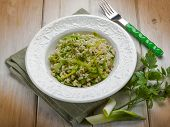 stock photo of leek  - risotto with leek - JPG