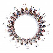 stock photo of color wheel  - Large group of people in the form of gears - JPG