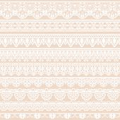 picture of lace  - Set of white lace borders isolated on beige background - JPG